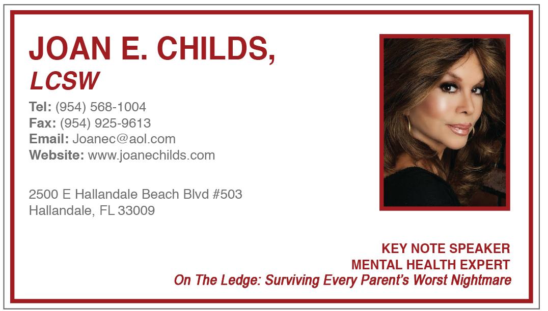 Professional mental health keynote speaker joan e childs joan e joanie business card colourmoves